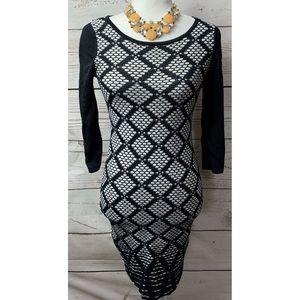 NWOT Ivanka Trump Diamond Pattern Bodycon Dress